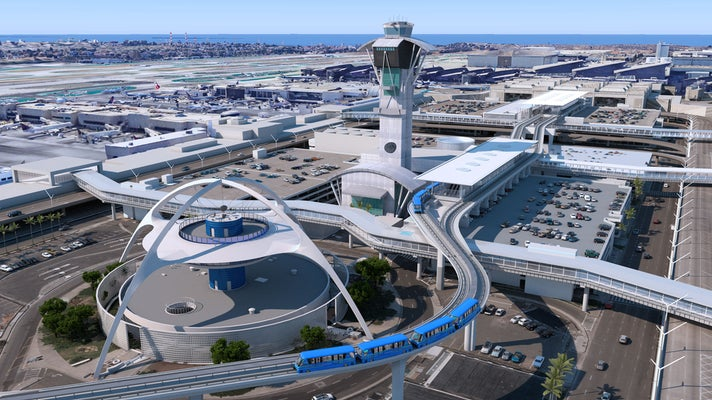 Aerial view of Automated People Mover (APM) at LAX
