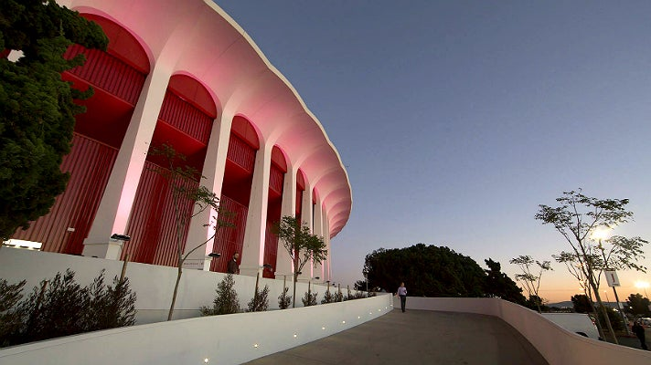 The Forum in Los Angeles at sunset