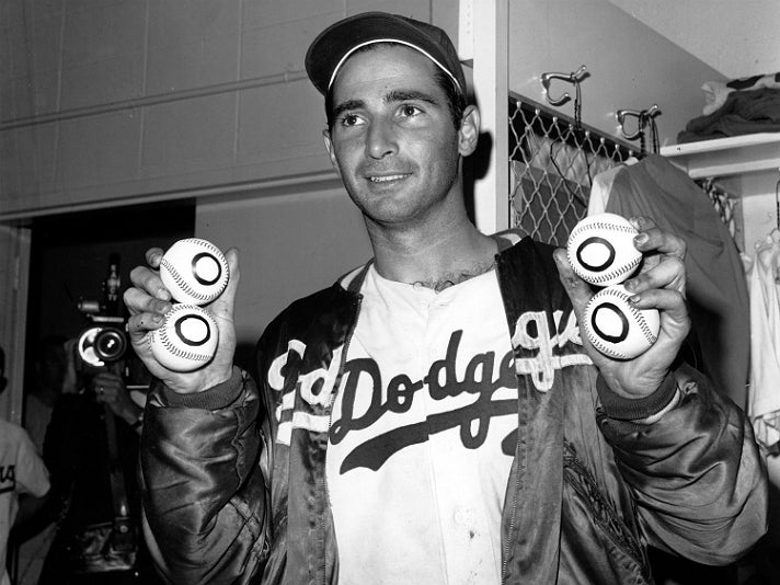 Sandy Koufax after pitching a perfect game, his 4th career no-hitter, on Sept. 9th, 1965