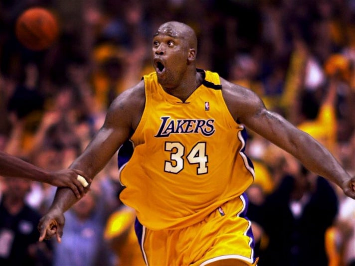 Shaq's monster dunk after an alley-oop from Kobe Bryant