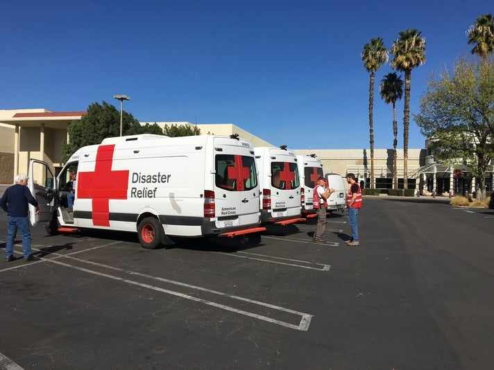 American Red Cross emergency response vehicles at Westfield Topanga & The Village