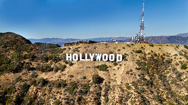 Hollywood Sign viewed from a helicopter
