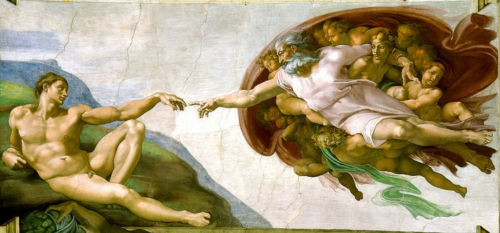 "Michelangelo, ""The Creation of Adam"" (detail), Sistine Chapel"