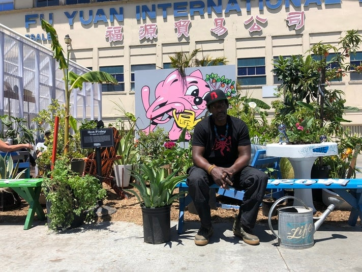 Ron Finley in his edible Gangsta Garden at Beyond the Streets | Photo by Shelley Leopold