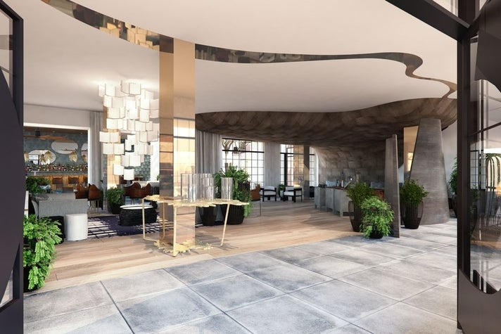 Rendering of Kimpton La Peer lobby