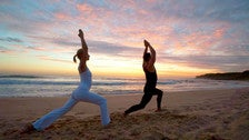 Yoga on the beach at Malibu Beach Inn
