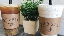 Passion Green Tea with Lychee + Oolong Milk Tea with Boba at Bubble U
