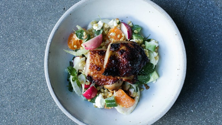 Tamari roasted chicken with heirloom grains at Hayden