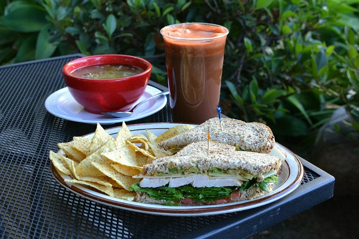 The Gobbler sandwich, chicken soup and Heart at The Mad Carrot