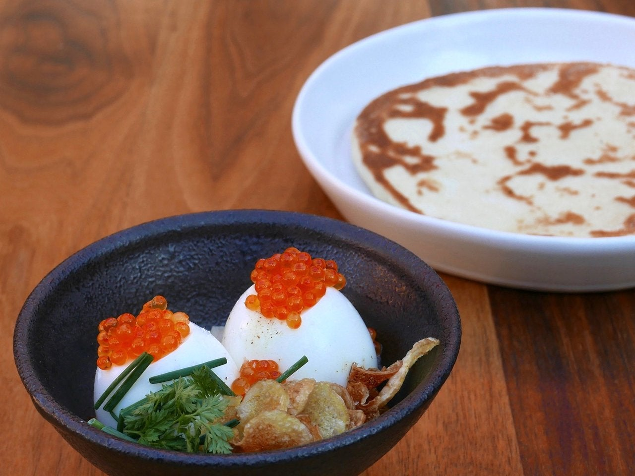 Bing Eggs with Smoked Trout Roe at Majordomo