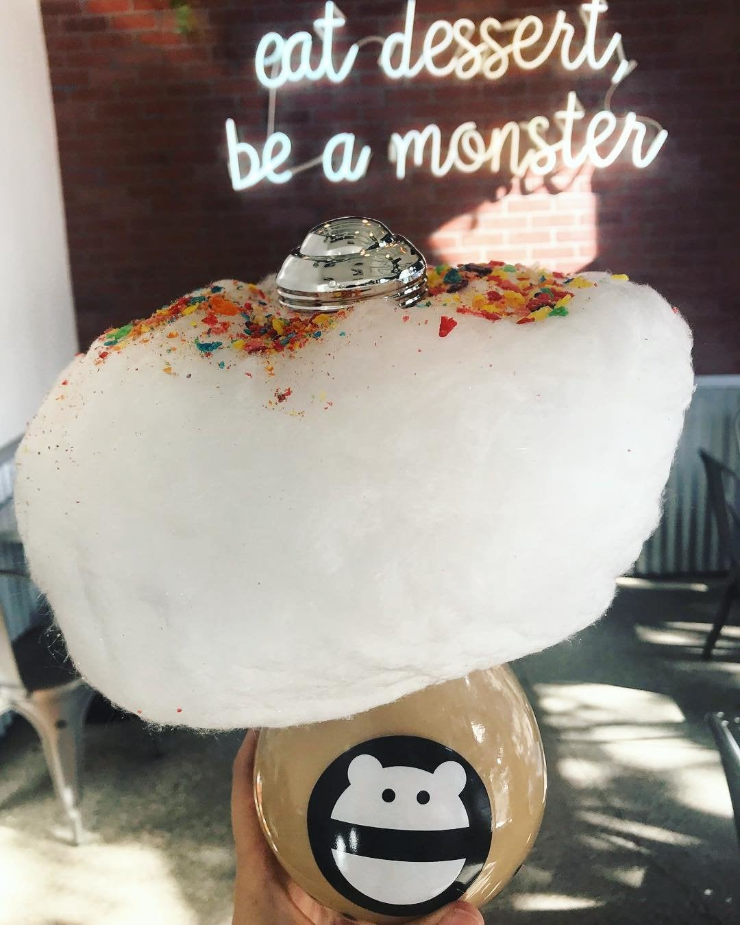 """Honey tea with boba and """"rainbow cloud"""" at Snow Monster"""